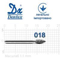 Бор  Dentex, алмазный на турбинный наконечник, 296 диаметр 018, 1шт.