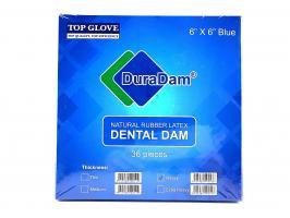 Раббердам платки DuraDam, синие heavy, 36шт.