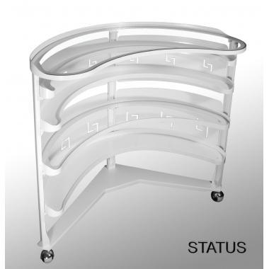 Стол доктора металлический СТАТУС STATUS, овальный 5 полок+ 4 панели