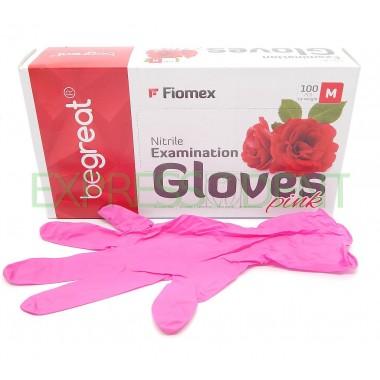 Перчатки Fiomex, Нитрил M, розовые, 100шт.