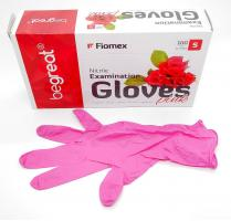 Перчатки Fiomex, Нитрил S, розовые, 100шт.
