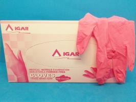 Перчатки Игар, Нитрил S, розовые, 200шт.