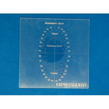 Трафарет для разметки раббердам коффердам платков, материал 2мм акрил, EXPRESSDENT