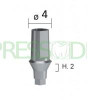 Абатмент титановый прямой, высота десны h=2мм диаметр 4мм INN-2101