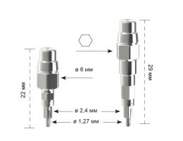 Имплантовод титановый для динамометрического ключа длинный INN-00590/2