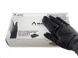Перчатки Игар, Нитрил S, черные, 200шт.