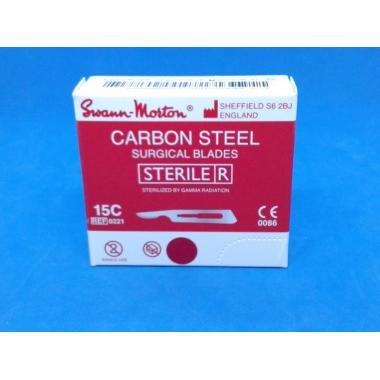 Лезвие для скальпеля №12D, Swann-Morton, углеродистая сталь, 1шт.