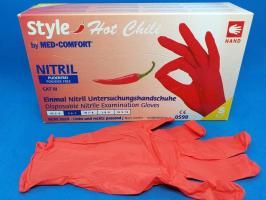Перчатки Style, Нитрил S, красные, 100шт.