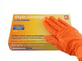 Перчатки Style, Нитрил S, оранжевые, 100шт.